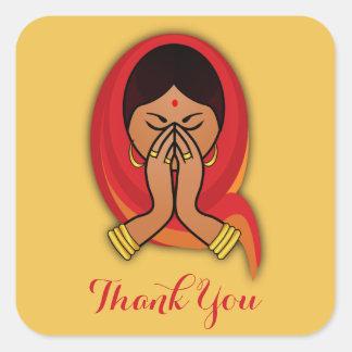Hindu Woman in Namaste Pose Thank You Square Sticker