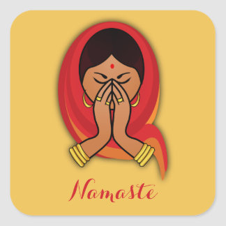 Hindu Woman with Head Scarf in Namaste Greeting Square Sticker