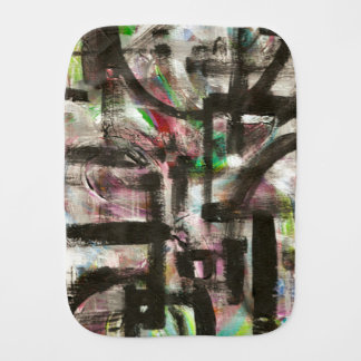 Hint of Spring-Hand Painted Abstract Brushstrokes Burp Cloths