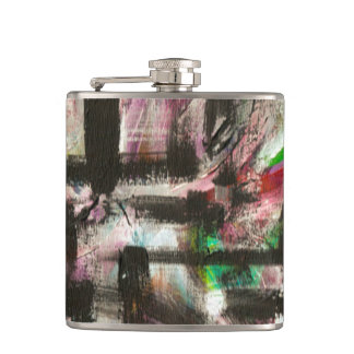 Hint Of Spring-Hand Painted Abstract Brushstrokes Hip Flask