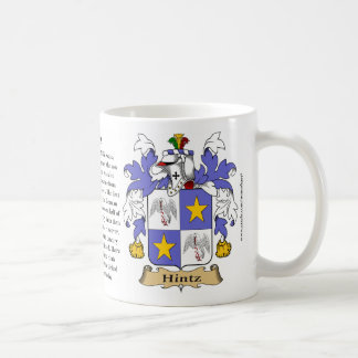 Hintz, the Origin, the Meaning and the Crest Coffee Mug