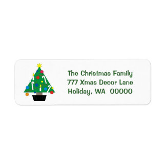 Hioliday Tree Custom Merry Christmas Card Sticker Return Address Label