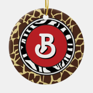 Hip and Chic Animal Print  Prints Ornament: Red Ceramic Ornament