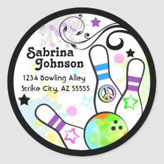 Hip and Colorful Bowling Address Label