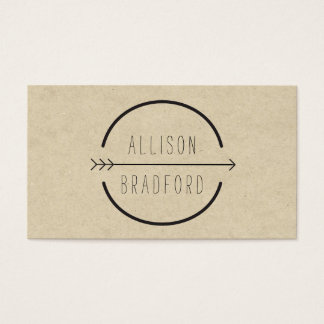 Hip and Rustic Arrow Logo on Tan Cardboard Look Business Card