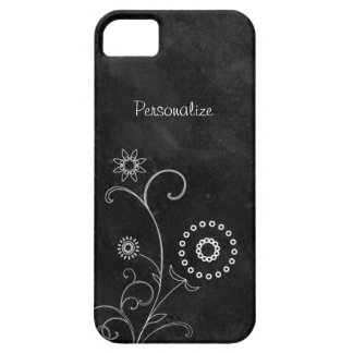 Hip Black and White Foral Chalkboard With Name iPhone 5 Cases