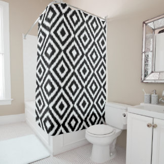 Hip Black White Ikat Diamond Square Mosaic Pattern