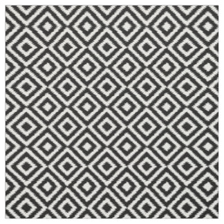 Hip Black White Ikat Diamond Square Mosaic Pattern Fabric