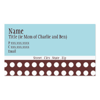 "Hip Blue and Brown Dot ""mommy card"" Business Cards"