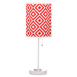 Hip Bright Red Ikat Diamond Squares Mosaic Pattern Table Lamp
