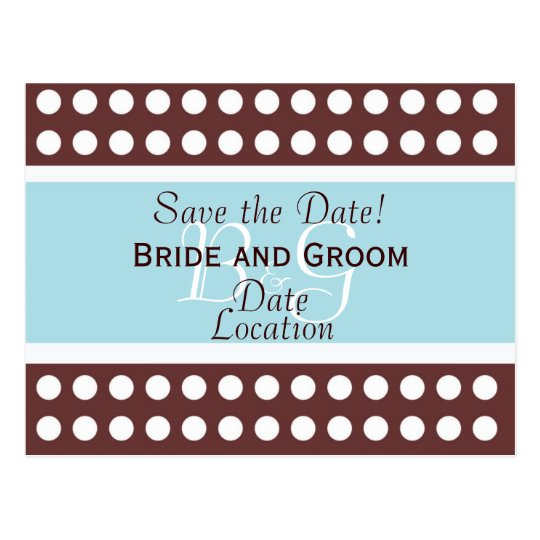 Hip Brown and Blue Save the Date Postcard