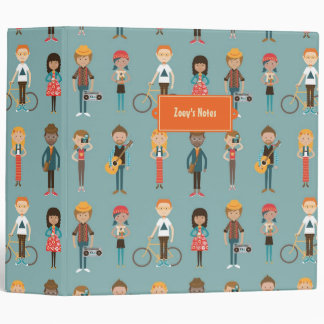 Hip Cartoon People Illustrations Pattern (Blue) Binder