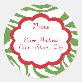 Hip Christmas Address Lables Classic Round Sticker