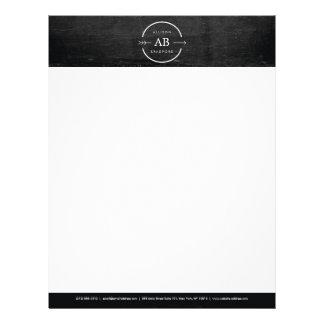 HIP & EDGY MONOGRAM LOGO with ARROW on BLACK WOOD Letterhead