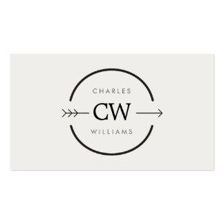 HIP & EDGY MONOGRAM LOGO with ARROW on LIGHT GRAY Business Card Templates