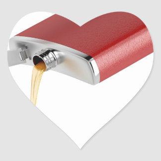 Hip flask heart sticker