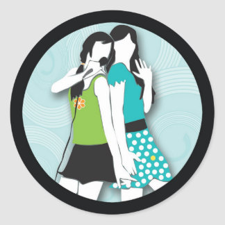 Hip Girls Singing Classic Round Sticker