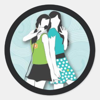Hip Girls Singing Round Sticker