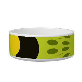 Hip Green and Black Geometric Circles Pattern Bowl