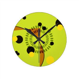 Hip Green and Black Geometric Circles Pattern Wall Clock