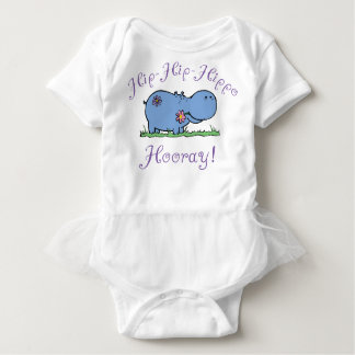 Hip-Hip-Hippo Hooray Outfit with Tutu Baby Bodysuit