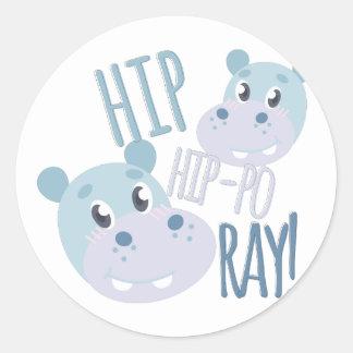 Hip Hip-po Ray Round Sticker