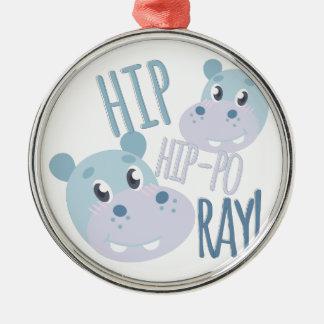 Hip Hip-po Ray Silver-Colored Round Ornament