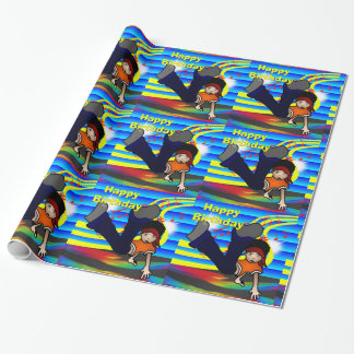 Hip Hop Break Dancing Kid Happy BIrthday Wrapping Paper