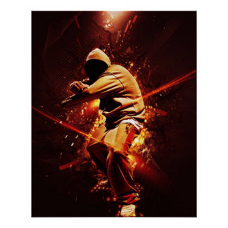 hip-hop breakdancer on fire poster