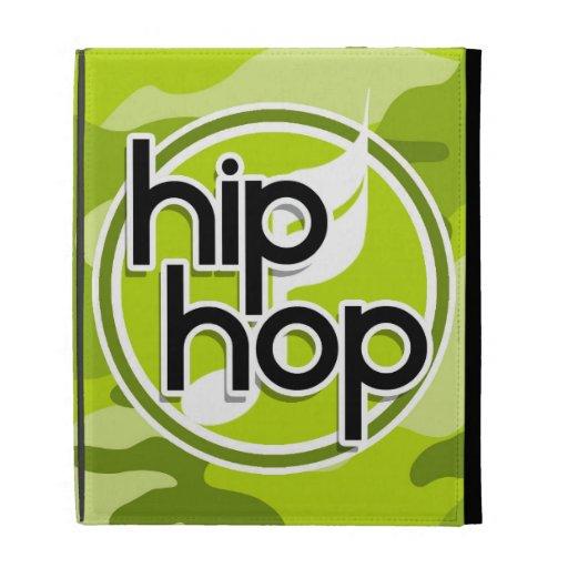 Hip Hop; bright green camo, camouflage iPad Folio Case