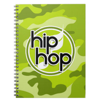 Hip Hop bright green camo camouflage Note Books