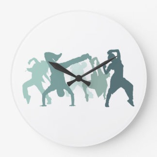 Hip Hop Dancers Illustration Wall Clock