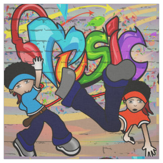 Hip Hop Dancing Kids Graffiti Wall Fabric