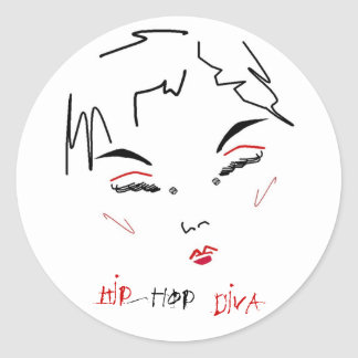 Hip-Hop Diva Round Sticker