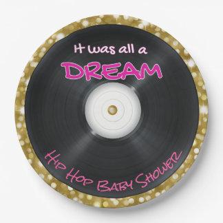 Hip Hop {Girl} Baby Shower Glitter Record Plates