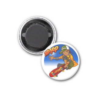 Hip Hop girl skateboard Cartoon 1 Inch Round Magnet
