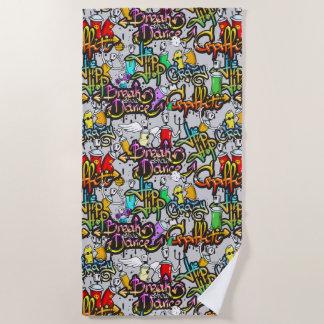 Hip Hop Graffiti Pattern beach towel