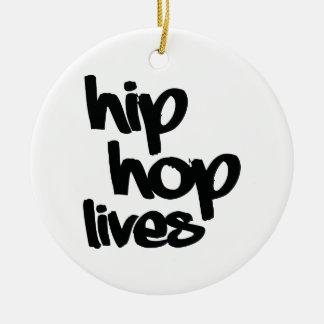 Hip Hop Lives Round Ceramic Ornament