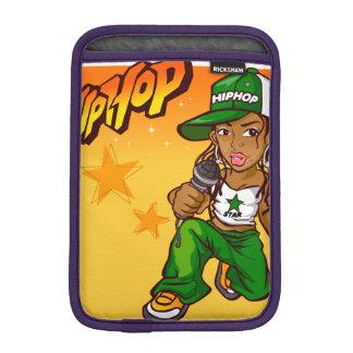 hip hop rapper girl green orange cartoon iPad mini sleeve