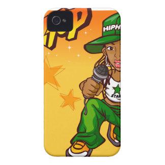 hip hop rapper girl green orange cartoon iPhone 4 Case-Mate cases