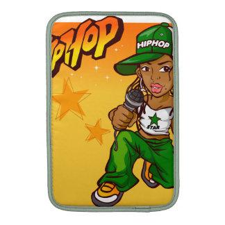 hip hop rapper girl green orange cartoon MacBook air sleeve