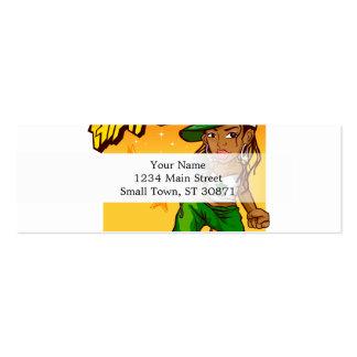 hip hop rapper girl green orange cartoon mini business card