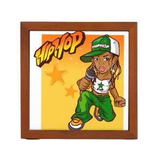 hip hop rapper girl green orange cartoon Pencil/Pen holder
