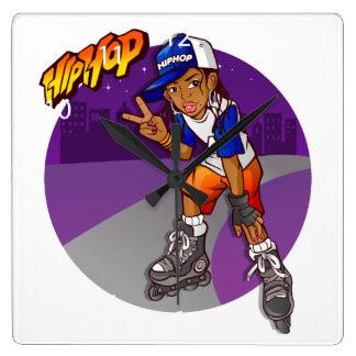 Hip Hop Teenage Skater Cartoon Wallclocks