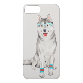 Hip Husky (Background Color Editable) iPhone 8/7 Case