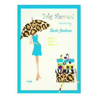 Hip Mama Baby Shower/ blue dress / leopard spots Card