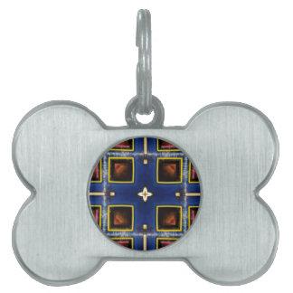 Hip Masculine Blue Geometric Pattern Pet Name Tag