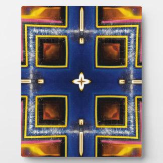 Hip Masculine Blue Geometric Pattern Plaque