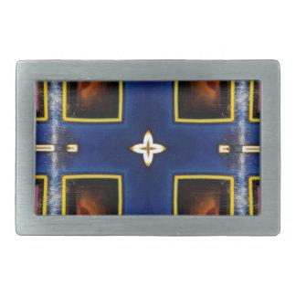 Hip Masculine Blue Geometric Pattern Rectangular Belt Buckles