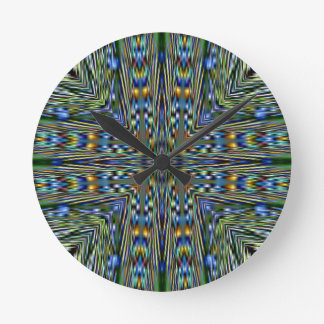 Hip modern Artistic Feathery Pattern Round Clock